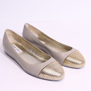 Jimmy Choo Waine Beige Leather and Gold Flats